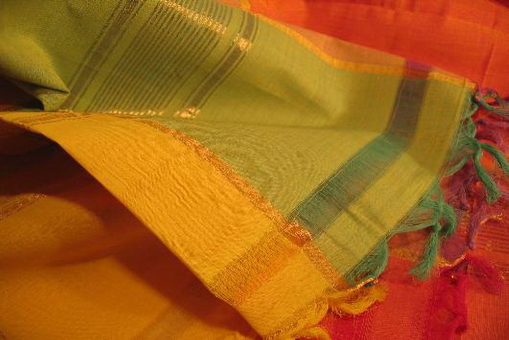 chale coton tisse main madras carreaux jaune vert rouge bordure or inde