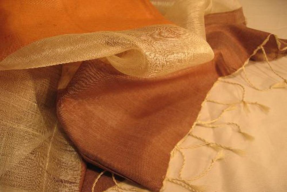 chale soie tisse main rayures orange brun inde