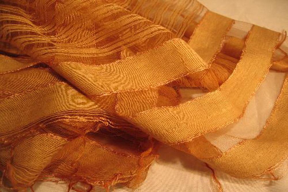 chale soie tisse main caramel rayures par effet tissage inde