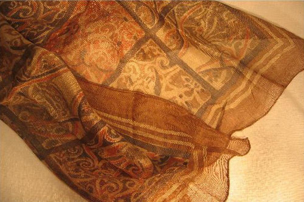 chale soie tisse main imprime au tampon rouge brun kalamkari inde