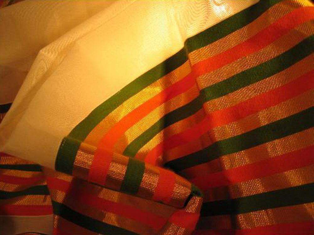 sari coton broche tisse main blanc orange vert or inde