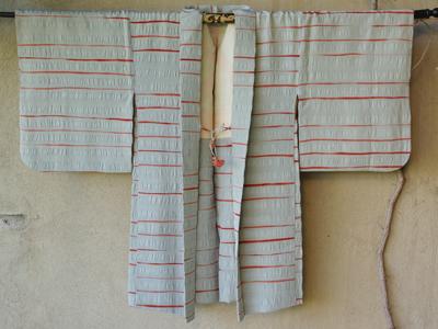 kimono haori japon soie doublure soie gris orange