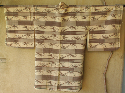 kimono haori japon crepe de soie doublure soie beige
