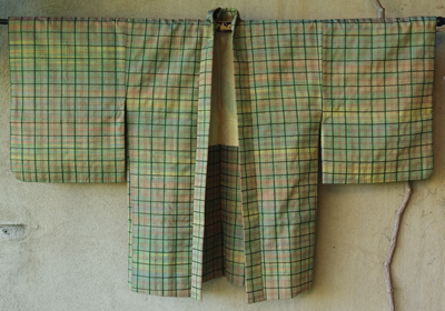 kimono haori japon soie doublure soie carreaux vert