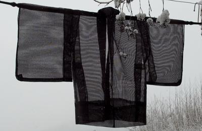 kimono haori japon soie ramie noir transparent dos
