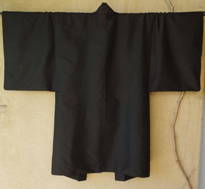 kimono haori homme japon soie noir doublure soie gris vert
